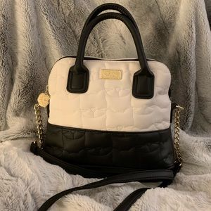 Betsey Johnson Quilted Cat Satchel Purse black